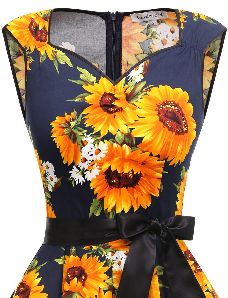 Sunflower Print Dress Aline Simple 1950s Retro Style Short Causal Dresses GDQC033 | Gardenwed