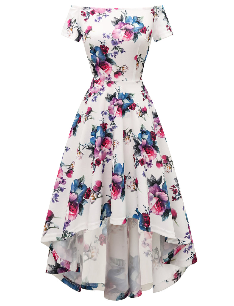 Floral Print High Low Cocktail Dresses Off-the-shoulder Aline Causal Dresses GDQC037 | Gardenwed