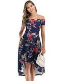Floral Print High Low Cocktail Dresses Off-the-shoulder Aline Causal Dresses