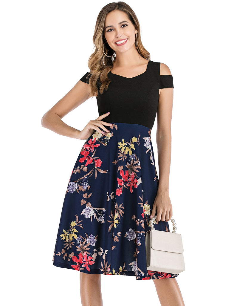 Floral Print Cocktail Dress Cold Shoulder with Pockets Simple Cheap Party Dresses GDQC039 | Gardenwed