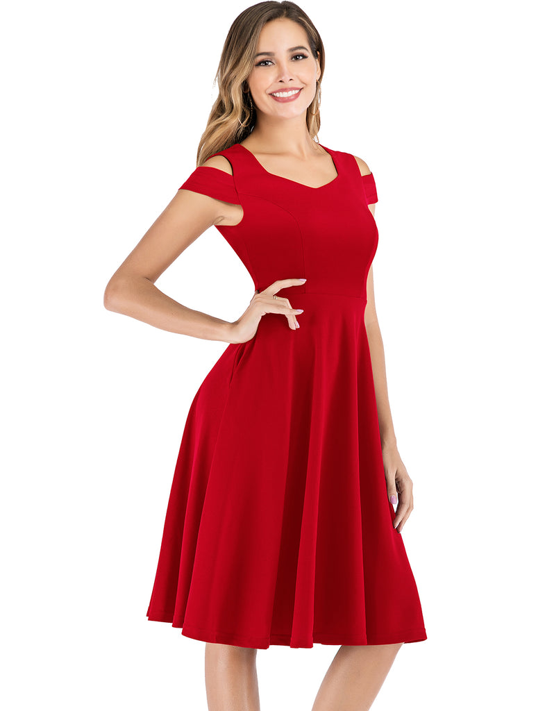 Cocktail Dress Cold Shoulder with Pockets Skater Dress Simple Cheap Party Dresses GDQC039 | Gardenwed