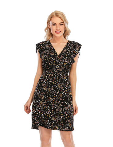 Ruffle Trim Sleeve Wrap V-neck Floral Print Summer Dress | Gardenwed