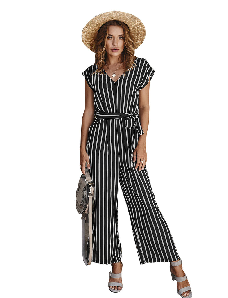 Women's Wide Leg Belted Elegant Office Jumpsuits and Rompers | Gardenwed