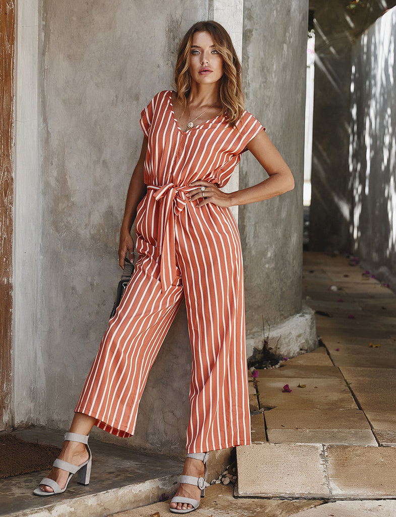 Women's Rompers Short Sleeve Stripe Wide Leg Jumpsuits | Gardenwed