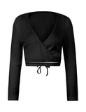 Women's Sexy Deep V Neck Long Sleeve Slim Fit Wrap Crop Top | Gardenwed