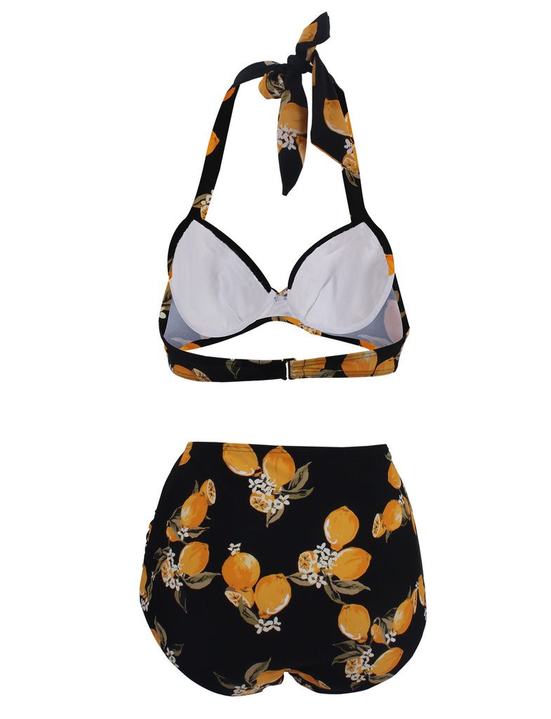 High Waisted V-neck Halter Two Piece Plus Size Bikinis GDCG1017 | Gardenwed