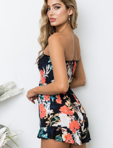Women's Fashion A-line Strapless Floral Print Short Jumpsuit GDQC1020 | Gardenwed