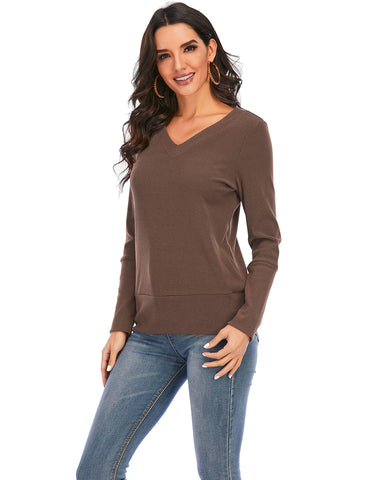 Women's V Neck Long Sleeve Casual Pullover Sweatshirts Blouses Tops | Gardenwed