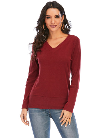 Women's V Neck Long Sleeve Pullover Sweatshirts Corduroy Shirts Tops | Gardenwed