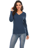 Cheap Blouses V Neck Long Sleeve Casual Corduroy Shirts Tops