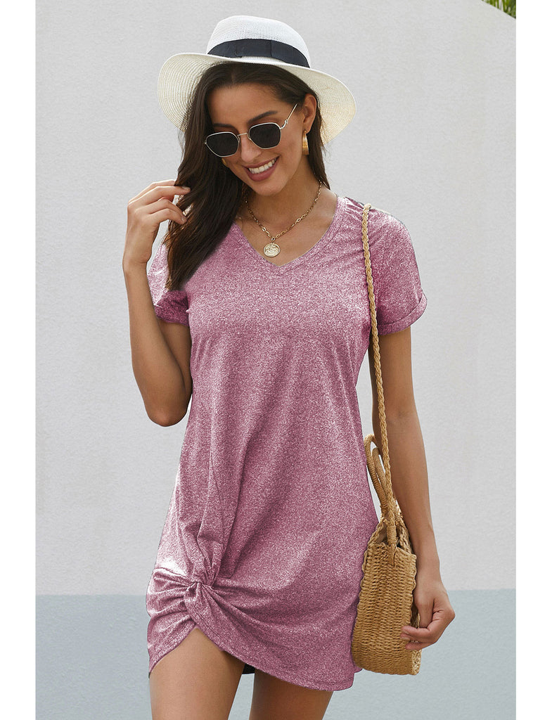 Women's Summer Casual T-Shirt Dress Short Sleeve Loose Mini Dress | Gardenwed