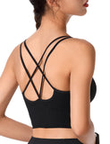 Strappy Sports Bra for Women Sexy Crisscross for Yoga Running Black | Gardenwed