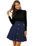 A-Line High Waist Pleated Button Mini Skirt with Elastic Band GD196 | Gardenwed