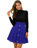 A-Line High Waist Pleated Button Mini Skirt with Elastic Band