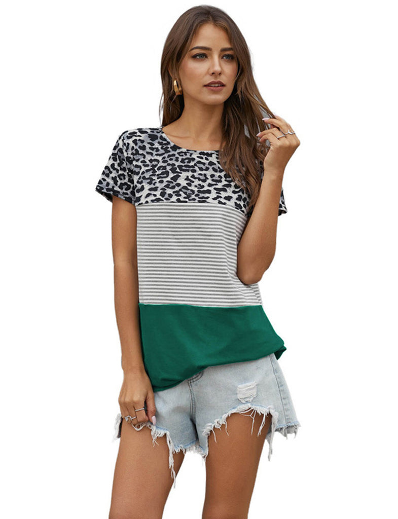 Leopard Print T-Shirts Striped Color Block Casual Loose Blouse Tunics Women's Tops | Gardenwed