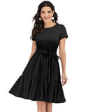 Daily Causal Dresses Street Wear A-line Scoop Short Sleeve Resort Wear Short Dresses TLQC1001 | Gardenwed