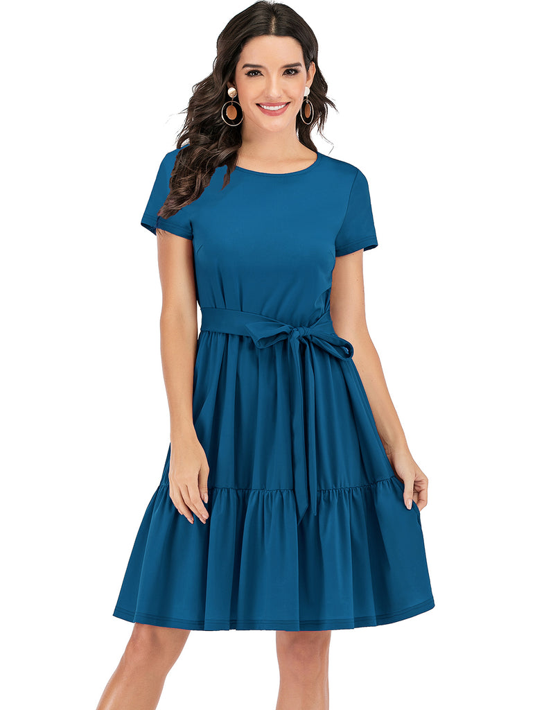 A-line Belted Scoop Ruffle Short Casual T-shirt Dress TLQC1001 | Gardenwed