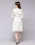 V-neck Bell Sleeve A-line Knee Length Lace Bridesmaid Dress TLQC1006 | Gardenwed