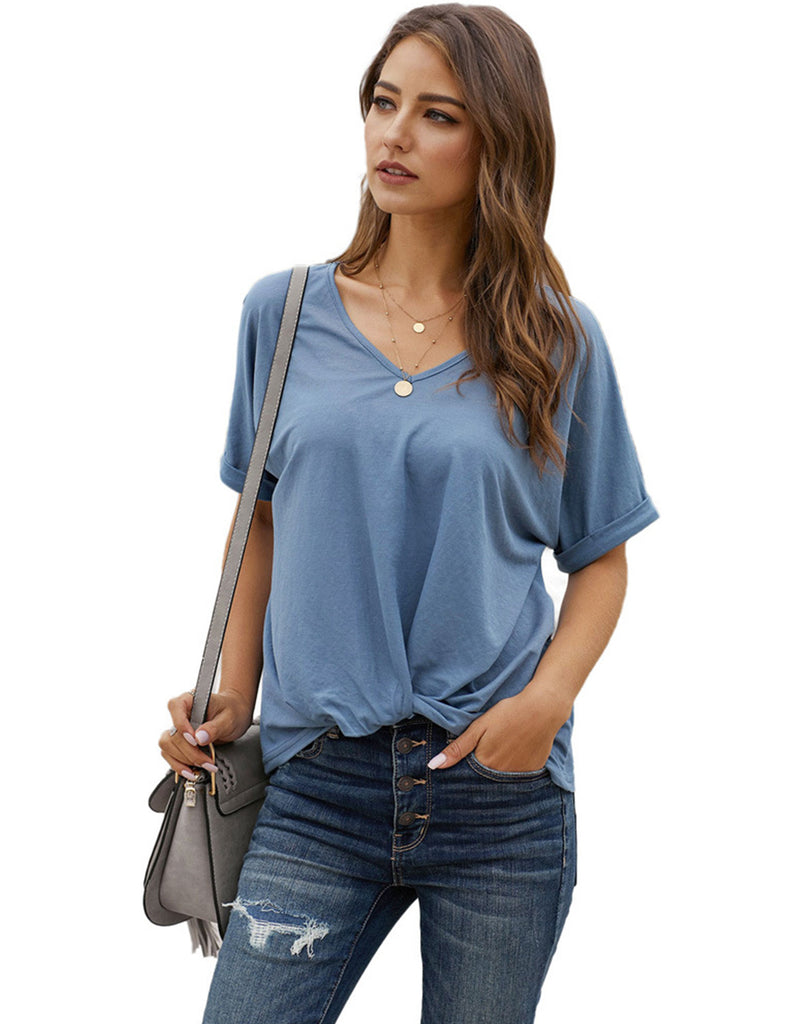 Women's Basic Top Short Sleeve V-Neck Loose Casual T-Shirts TLQC1007 | Gardenwed