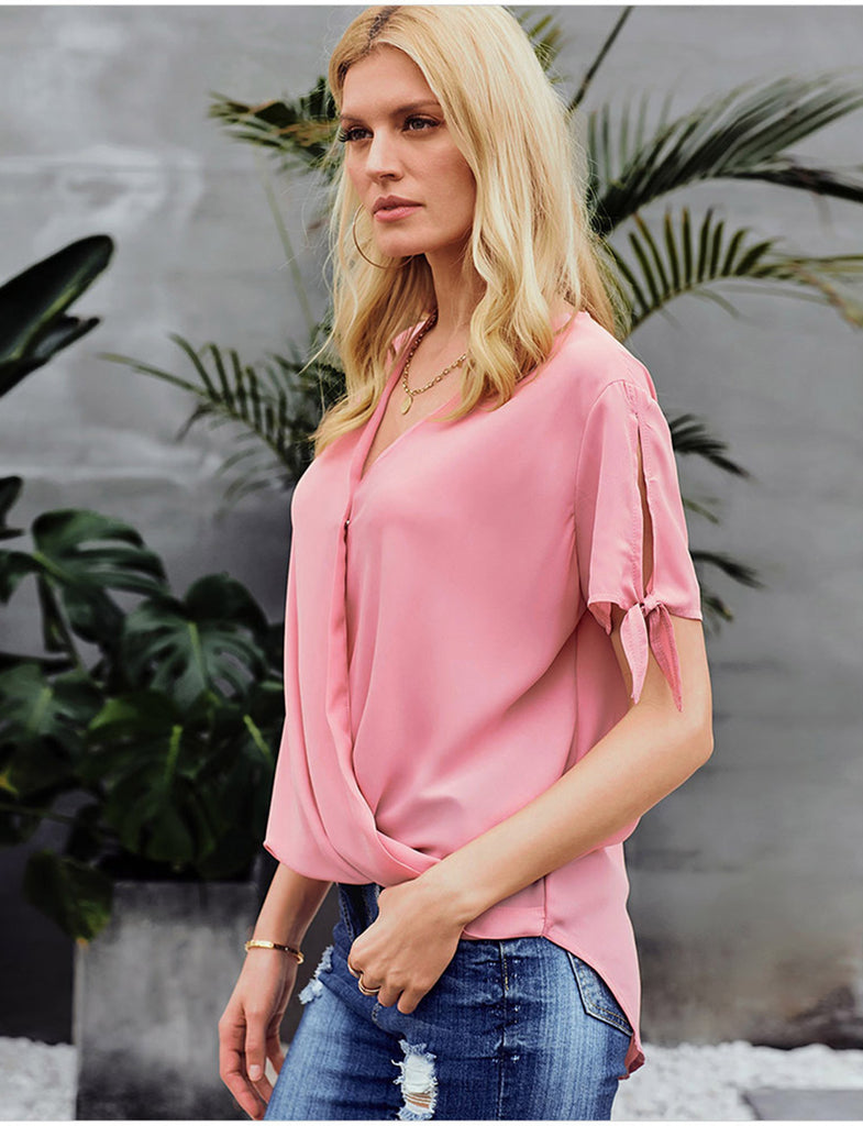 Women's Summer Top Tie Sleeve V-Neck Loose Casual Blouse TLQC1008 | Gardenwed