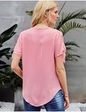 Women's Summer Top Tie Sleeve V-Neck Loose Casual Blouse