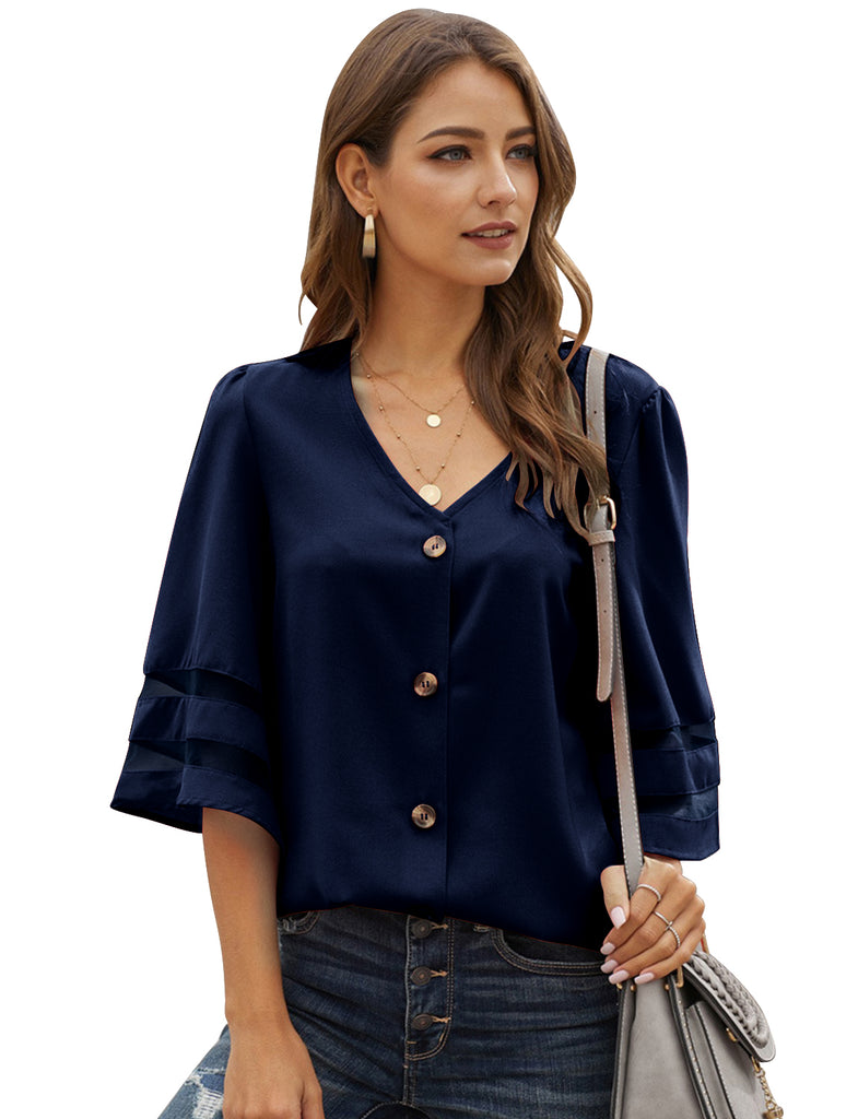 Women's Plus Size V-Neck Chiffon Blouse 3/4 Bell Sleeve Loose Casual Top T-Shirts | Gardenwed