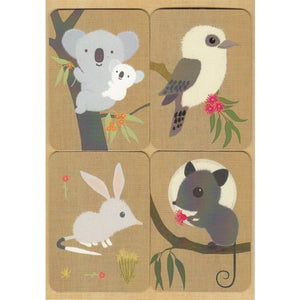 Greeting Card Fridge Magnet Australiana Set of 4 Koala Baby And Friends