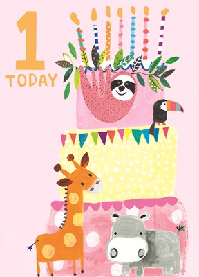 Greeting Card Hoopla Happy Birthday 1 Today Pink Animals