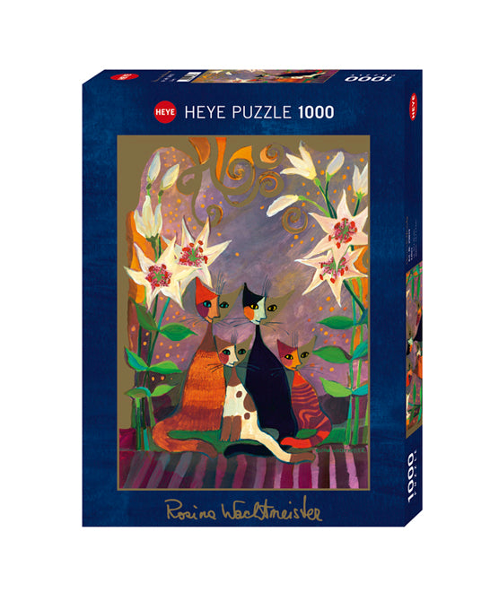 1000pc Jigsaw Puzzle Heye Cat Lilies By Rosina Wachtmeister