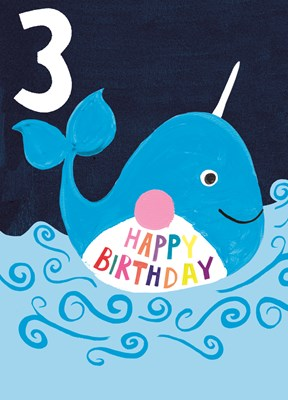 Greeting Card Hoopla Happy Birthday Age 3 Blue Whale