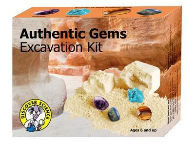 Authentic Gems Excavation Kit 4 Polished Gemstones in Plaster Block Science Kit