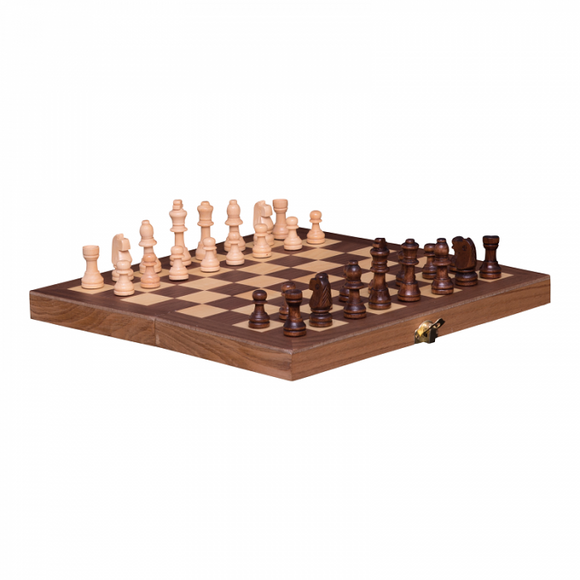 Chess Set French Cut Wooden Folding Set 30cm Board Game