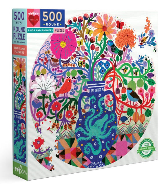 500pc Jigsaw Puzzle Eeboo Round Birds & Flower