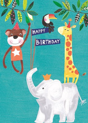 Greeting Card Hoopla Happy Birthday Moneky & Elephant