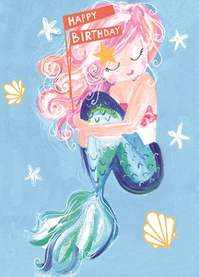 Greeting Card Hoopla Happy Birthday Mermaid & Starfish