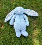 Plush Jellycat Bunny Bashful Aqua Blossom Medium
