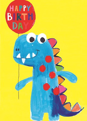 Greeting Card Hoopla Happy Birthday Dinosaur with Balloon