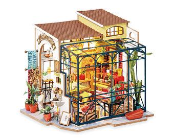 3D Wooden DIY Miniature House Happy Corner Emily's Flower Shop