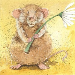Greeting Card Malcolm Mouse Flower Alex Clark