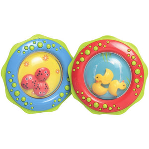 Rattle Teether Ring With Duck and Ladybird or Shapes Inside