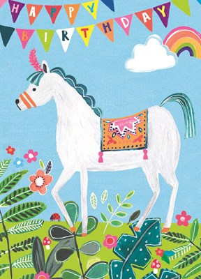 Greeting Card Hoopla Happy Birthday White Unicorn