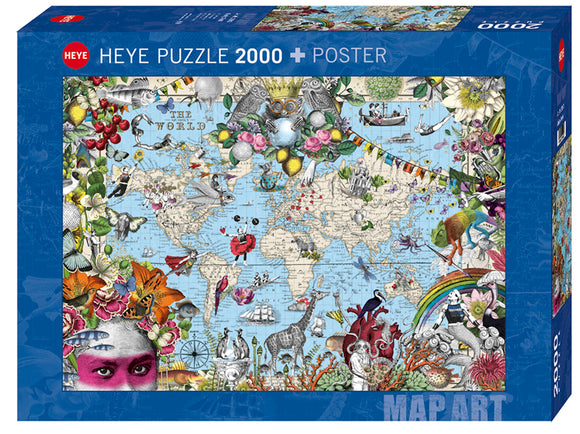 2000pc Jigsaw Puzzle Heye Quirky World Map