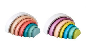 Wooden Rainbow Stacking Toy Pastel Calm and Breezy Kaper Kidz