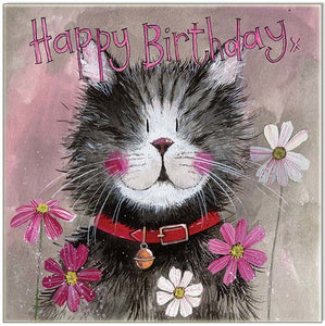 Greeting Card Cat Whiskers Happy Birthday Alex Clark