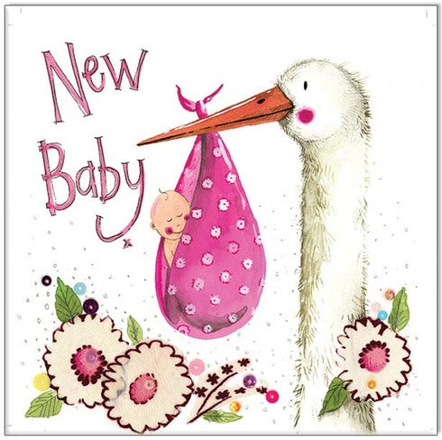 Greeting Card Pink Stork Bird New Baby Alex Clark