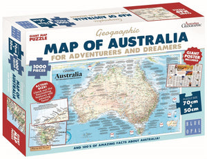1000pc Jigsaw Puzzle Blue Opal Geographic Map Of Australia For Adventurers And Dreamers
