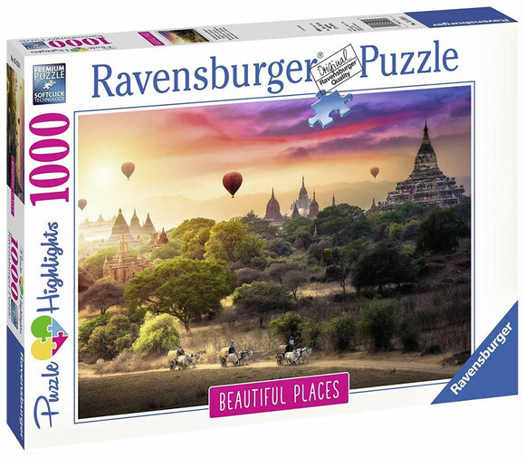1000pc Jigsaw Puzzle Ravensburger Hot Air Balloons Over Myanmar