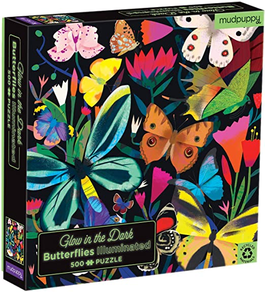 500pc Jigsaw Puzzle Mudpuppy Glow in the Dark Butterflies