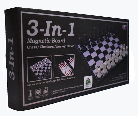 Chess Checkers and Backgammon 3 In 1 Magnetic Travel Large Board Game