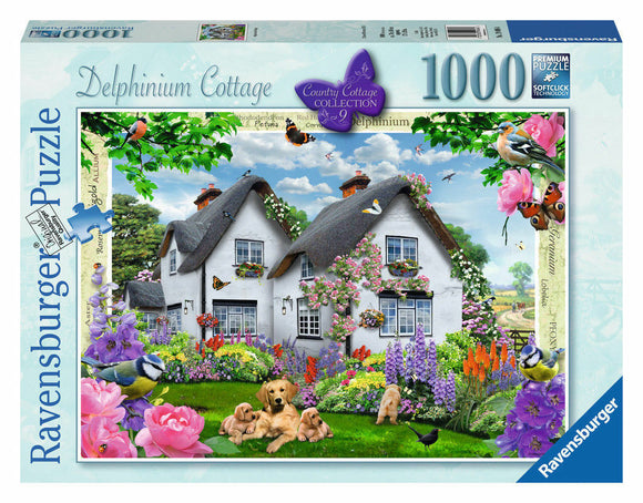 1000pc Jigsaw Puzzle Ravensburger Delphinium Country Cottage